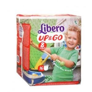 Libero Up&Go Pannolino Per Bambino Taglia 8 19-30 Kg 16 Pezzi