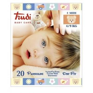 Trudi Baby Care Pannolini Dry Fit Midi 4/9 Kg 20 Pezzi